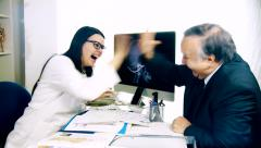 Female doctor and senior patient starting to dance for happiness Stock Footage
