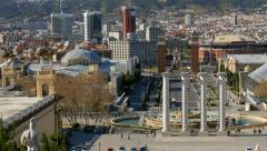 Panning shot of of Placa De Espanya (Square of Spain). Barcelona, Spain Stock Footage