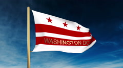 Washington dc flag slider style with title. Waving in the wind with cloud Stock Footage