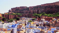 The old blue city and the Mehrangarh Fort of Jodhpur, India Stock Footage