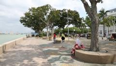 Promenade in the port of Georgetown, Malaysia Stock Footage