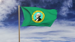 Washington flag waving in the wind. Green screen, alpha matte. Loopable Stock Footage