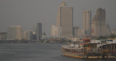 Stock Video Footage of Riverboat Traffic on Chao Phraya River (4K)