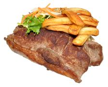 Sirloin Steak And Chips - stock photo