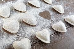 Dumplings in flour - stock photo