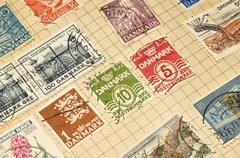 Old Danish Stamps In Album - stock photo