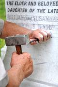 Stonemason Engraving Marble Gravestone Stock Photos