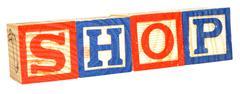 Alphabet Blocks Spelling Shop - stock photo