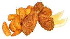 Southern Fried Chicken And Wedges Stock Photos