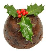 Christmas Pudding And Holly Stock Photos
