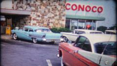 1922 - Route 66 Conoco highway travel rest stop - vintage film home movie Stock Footage