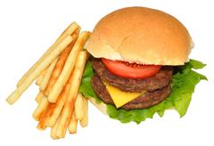 Double Cheeseburger And Fries Stock Photos