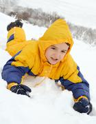 Playing in the snow - stock photo