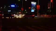 Shenzhen Baoan Avenue in the night landscape Stock Footage