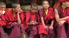 Hemis Festival 2013 Young monk with Rubik's cube,Hemis,Ladakh,India Stock Footage