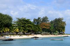 Africa, picturesque area of La Pointe Aux Canonniers in Mauritiu - stock photo