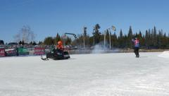 Winter Snowmobiles Racing To Victory Stock Footage
