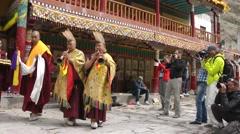 Hemis Festival 2013 Start of Festival, mucicians enter,Hemis,Ladakh,India Stock Footage