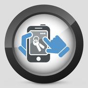 Smartphone icon. Key access. Stock Illustration
