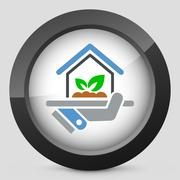 Indoors garden icon - stock illustration