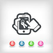 Smartphone icon. Key access. - stock illustration