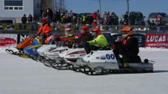 Snowmobile Race Starting Grid Stock Footage