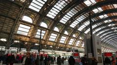 4K Garibaldi Central Train station platform passengers leaving Milan Milano Stock Footage