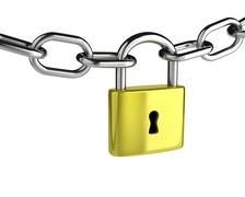 Metal Chain with a Closed Padlock on White Background Stock Illustration