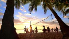 People playing volleyball at tropical beach. Boracay, Philippines - stock footage