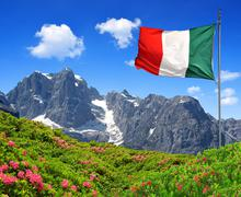 Mountain Brenta with Italy flag Stock Photos