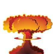 Nuclear explosion mushroom cloud - stock illustration