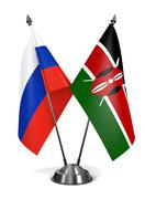Russia and Kenya - Miniature Flags Stock Illustration