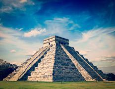 Mayan pyramid in Chichen-Itza, Mexico - stock photo