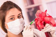 beautiful female biologist experimenting with red flower - stock photo