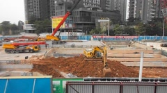 Shenzhen, China: subway construction site Stock Footage
