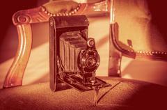 Antique folding camera Stock Photos