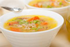 Syrian barley broth soup Aleppo style Stock Photos