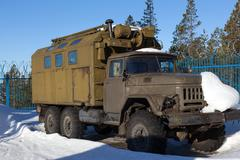 RUSSIA - MARCH 16, 2015: Old soviet off-road vehicle ZIL-131 in the parking l Kuvituskuvat