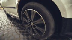 Wheel car that rides on the pavement Stock Footage