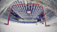 Hockey attack ends in a goal view from gate Stock Footage