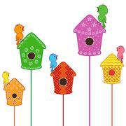 Stock Illustration of Amusing birds singing in their homes