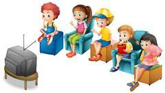 Watching TV Stock Illustration