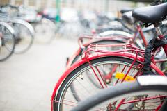 Bike rental service - Many bikes standing in bike stands, availa Stock Photos