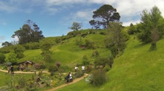 Hobbiton with tourists Stock Footage