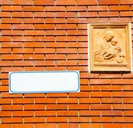 Milan   italy old church concrete wall  brick       madonna Stock Photos