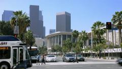 4K, UHD, Los Angeles Downtown, Skyscrapers and Music Center, California Stock Footage