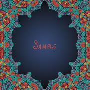 Colorful oriental style frame (Persian, Arabian, Gypsy or Indian - stock illustration