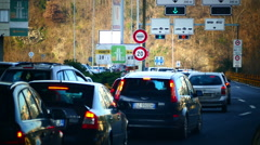 POV Traffic Jam congestion at Italian and Switzerland border control Stock Footage