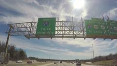 4k Driving under Tulsa Oklahoma highway sign Stock Footage