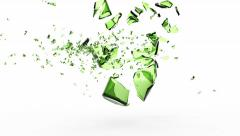 4K Super Slow Motion Animation of Shattered Green Beer Bottle by Bullet - stock footage